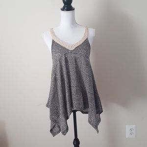 Long tank top with varied hem line